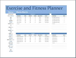 workout planner template exercise and fitness planner word excel templates