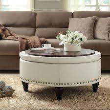 white colors ottoman round coffee table perfect home decoration with tray ideas reclaimed beautiful teak