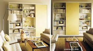 office space in living room. Use A Bookcase Unit With Adjustable Shleves To Configure Small Workspace That Packs Punch Storage. For Extra Credit, Hide Your Office Away Behind Space In Living Room R