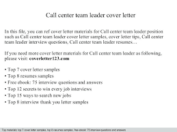 Team Leader Cover Letter Examples Sample Position Call Center