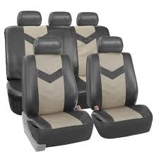 faux synthetic leather car seat covers for auto universal fit 2 tone gray 0