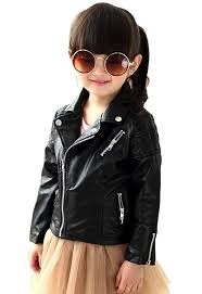 baby girl s spring autumn motorcycle jackets pu leather coat black bx60892 affordable s