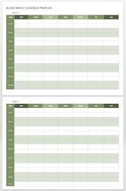 Blank One Week Calendar 15 Free Weekly Calendar Templates Smartsheet