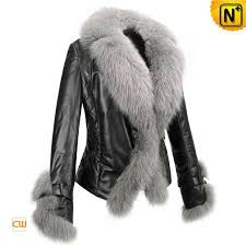 fur trimmed leather jacket cw611205 cwmalls com