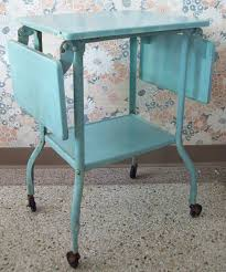 vintage aqua machine age metal typewriter stand side table desk