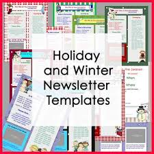 Winter And Holiday Newsletter Templates Party Set Of 11 Templates