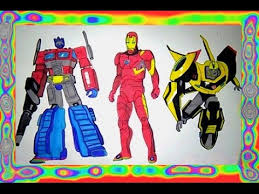 Small Picture Colors Superhero Iron Man vs Transformers Optimus Prime Coloring