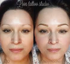 перманентный макияж бровей до и сразу после процедуры мастер эля