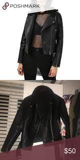 black faux jacket top faux leather moto jacket black faux leather top and fur