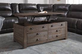 Rustic Pine Trunk Style Rectangular Lift Top Coffee Table With 2 Drawers U0026  Casters