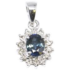 0 75ctw blue green sapphire and diamond pendant 14k white gold