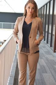 camel pant suit collarless blazer interview blazers and suits w wearing pant suit for business formal attire great for interviews or client meetings