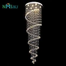 luxury modern large big d55 h220cm stair long spiral crystal chandelier lighting fixture for staircase rain drop pending lamp glass chandelier drum
