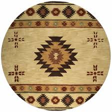 new southwest soft wool round area rug 10 feet tan red green tribal southwestern