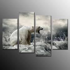 framed wall art home decor polar bear canvas painting art print ready to hang 4p on black and white bear wall art with framed wall art home decor polar bear canvas painting art print