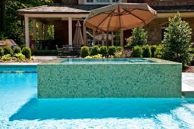 patio with square pool. Fascinating Inground Pool And Spa With Raised Jacuzzi Box Unique Umbrella In Patio For Modern Rustic Home Design Square