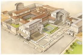 a cross section of this roman palatium palace reveals the atrium reception room and peristylium a formal colonnaded garden
