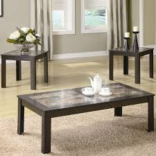 3pc brown finish coffee table set