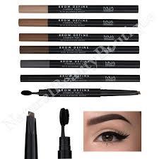 dels about mua makeup brow define twist up angled eyebrow pencil brush 6 shades vegan