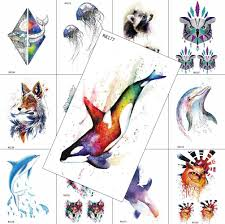 1PC <b>Watercolor Dolphin Temporary</b> Tattoo For Men Women Kids ...