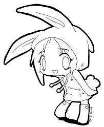 Cute Anime Coloring Pages Cute Anime Coloring Pages With Bunny