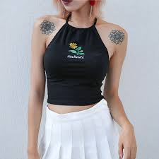 Cute outfits tumblr crop top Casual Sexy Floral Embroidery Letter Cute Halter Backless Slim Crop Top Tumblr Girl Short Tee Kawaii Fashion High Street Camisole Tank Pinterest Sexy Floral Embroidery Letter Cute Halter Backless Slim Crop Top