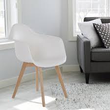 2er Set Retro Esszimmerstühle Kunststoff Schale Weiß