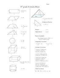 8 Grade Math Formula Chart Math Algebra Formula Sheet Transindobalon Com