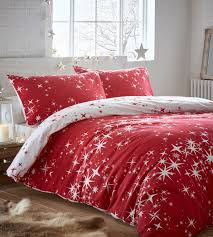 galaxy red flannelette duvet cover set