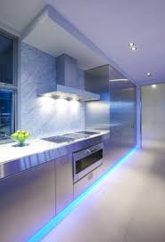 stunning lighting. Stunning Kitchen Ceiling Design Ideas Led Blue Modern Ultra With Lighting Fixtures White And Cabinets Black Red Simple Small Pale Bleu Restaurant Brooklyn