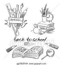 clock an apple books and pencils back to background black and white line drawing isolated on white