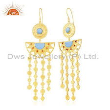 manufacturer of indian traditional gold plated fashion gemstone chandelier earring whole