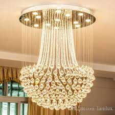 new design led crystal ceiling chandeliers crystal rain drop modern round chandelier lighting pendent lamps for duplex stairs villa hotel canada 2019 from