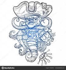 эскизы пиратских татуировок Pirate Octopus Tattoo Sketch