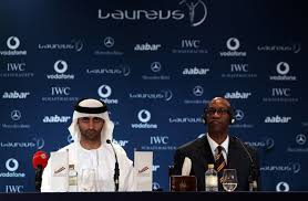 His Excellency Mohammed Ibrahim Al Mahmood, the general secretary of the Abu Dhabi Sports Council (L) with Edwin Moses, the chairman of the Laureus World ... - Laureus%2BWorld%2BSports%2BAwards%2BPress%2BConferences%2BfGwmy_s6kOCl