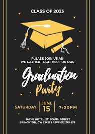 Graduation Party Invitation Template Online Black Graduation Party Invitation Template Fotor