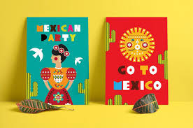 Mexican Style Graphic Design Frida Mexican Folk Kit Cards Backgrounds Clothing Paper