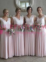 2018 Pearl Pink Chiffon Long Bridesmaid Dresses Lace Plus Size Floor Length Maid Of Honor Wedding Guest Gown Custom Made Hot Sale Alexia Bridesmaid