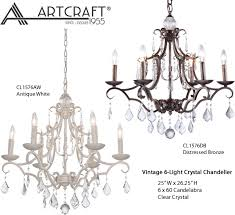 artcraft lighting cl1576db cl1576aw vintage 6 light crystal chandelier