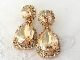 large gold chandelier earrings thejots fullxfull dlnk bridal champagne earringschampagne lighting ideas zspmed rose cubic zirconia