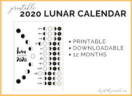 Lunar Calendar Bullet Journal Printable 2020