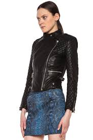 image 3 of barbara bui quilted lambskin moto jacket in black