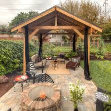 Modern Covered Patio With Fire Pit Pavilion Outdoor Structure Paver To Models Ideas