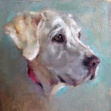 beautiful golden lab painting in oil on canvas with bright accent colors by heather lenefsky art
