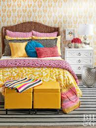 yellow furniture. Bright Colorful Bedroom With Yellow Ottomans Furniture