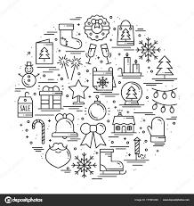 別の冬のシンボル要素プレゼントクリスマス ツリー花火ベル