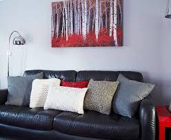 modern grey red living room decorating