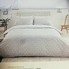 home dove grey ditsy fl 144 thread reversible bedding set double duvet