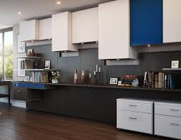 Home office cabinetry design Desks Brown And Grey Themed Office Storage With Blue Accents Includes Cabinets Drawers And Shelving California Closets Home Office Storage Furniture Solutions Ideas By California Closets