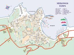 mykonos town map  mykonos greece • mappery
